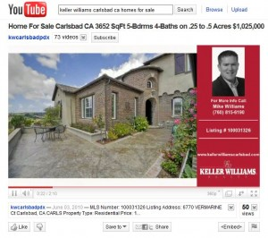real estate you tube listing video for keller williams in Carlsbad, CA