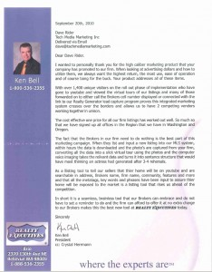 Tech Media Marketing real estate video marketing testimonial letter from Realty Executives Brio owner Ken Bell